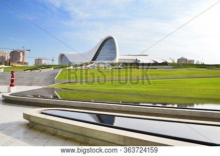 Baku, Azerbaijan - MAY 24, 2014 Heydar Aliyev Center, exhibition gallery in Baku. Heydar Aliyev Cent