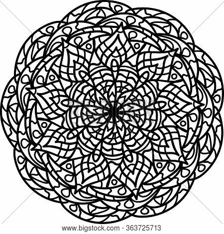 Mandala Coloring Page For Kids And Adults. Vector Illustration. Relax Black And White Ornament. Medi