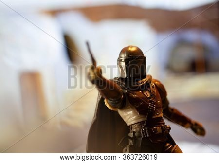 APRIL 26 2020:  Recreation of a scene from Disney + The Mandalorian - Hasbro action figure