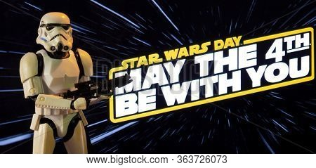 APRIL 26 2020: Star Wars Day concept - May the Fourth Be With You with a Stormtrooper  - Hasbro action figure