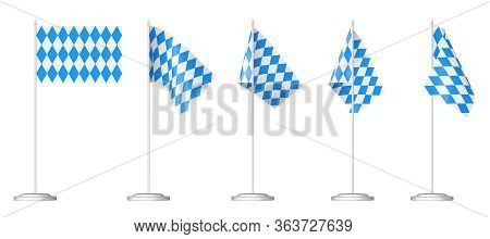 Oktoberfest Small Table Flags On Stand Collection Isolated On White, Bavarian Checkered Blue Flag Wi
