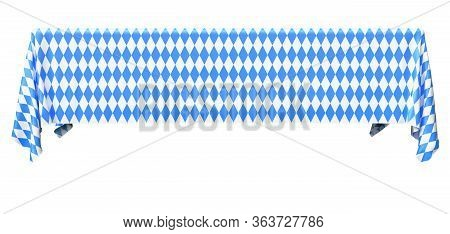 Rectangular Oktoberfest Tablecloth With Blue-white Checkered Pattern Isolated On White, Front View,