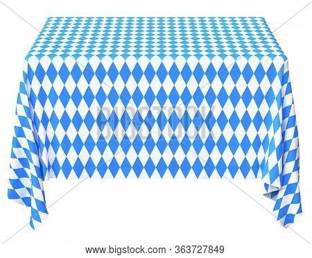Oktoberfest Square Tablecloth With Blue-white Checkered Pattern Isolated On White, Front View, Tradi