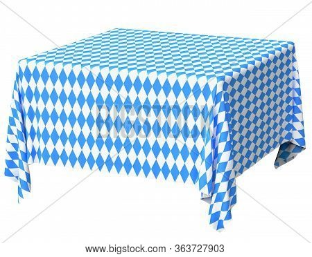 Oktoberfest Square Tablecloth With Blue-white Checkered Pattern Isolated On White, Diagonal View, Tr