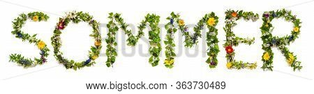 Flower And Blossom Letter Building Word Sommer Means Summer
