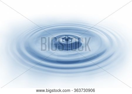 Splash Water, Water Dripping On The Water Surface Blue Water Wave Isolated On White Background