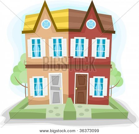 Illustration of a Duplex House with Dissimilar Colors