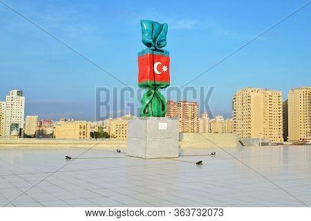 Baku, Azerbaijan - May 24, 2014:  Sculpture Flag Of The Azerbaijan In Heydar Aliyev Center