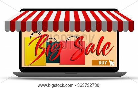 Laptop Represent Of Front Of Shop Store. Ecommerce Store Concept. 3d Rendering