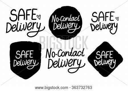 Safe Delivery. No Contact Delivery Hand Drawn Inscription. Black Handwriting Isolated On White Backg