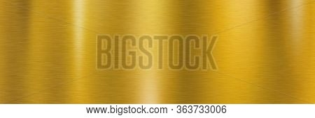Golden Brushed Metal Surface. Long Metallic Texture With Shiny Light Reflections For A Background