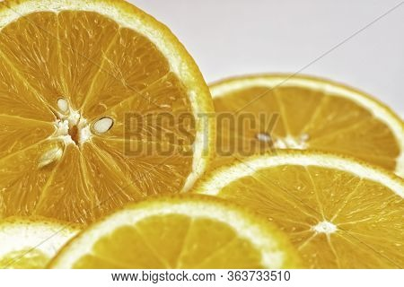 Orange Fruit Close Up. Orange Slices, Half Orange. Orange Fruit Background