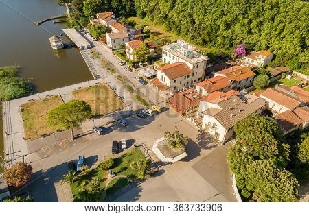 Aerial View Of Torre Del Lago Puccini, Fraction Of Viareggio In Province Of Luca, Tuscany, Italy
