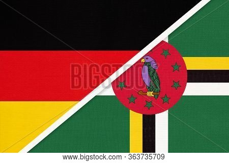 Federal Republic Of Germany Vs Commonwealth Of Dominica, Symbol Of Two National Flags From Textile.