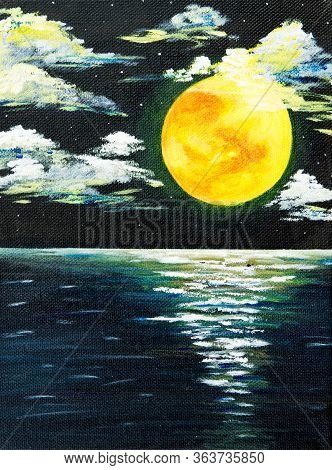 Original Acrylic Painting Of Beautiful Full Moon Over Ocean On Canvas.modern Impressionism, Modernis