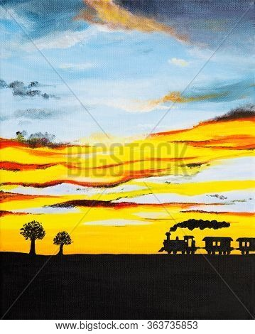 Original Acrylic Painting Of Steam Powered Train Silhouette And Beautiful Sunset On Canvas.modern Im