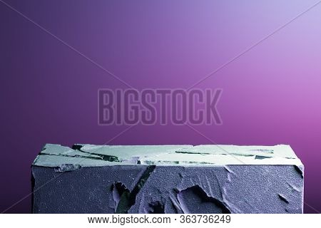 Realistic Modern Showcase Made From Stone Or Concrete On Neon Pink And Violet Background. 3d Renderi