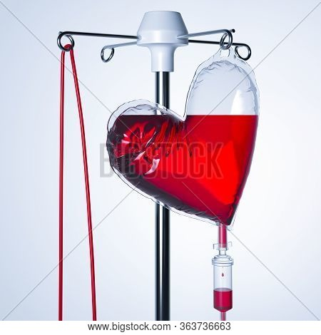 Blood Transfusion Bag Or Count Dropper In Shape Of Heart. Drop Counter With Red Liquid Content Or Me