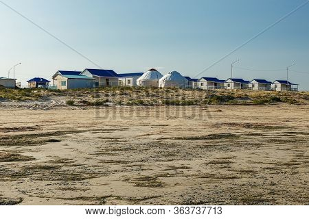 Lake Kamyslybas Is A Large Saltwater Lake In Kazakhstan, Guest Houses By The Lake