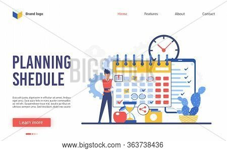 Planning Schedule Vector Illustration. Cartoon Flat Businessman Character Makes Plan Of Business Wor