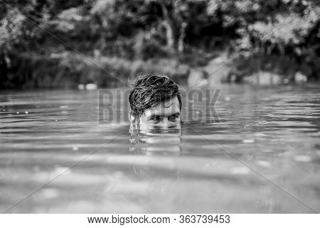 Time To Get Refreshed. Pry And Hunt. Bearded Man Swimming In Lake. Summer Vacation. Mature Swimmer.