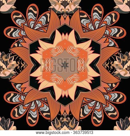 Seamless Pattern Mehndi Floral Lace Of Buta Decoration Items On Orange, Beige And Black Colors. Vect