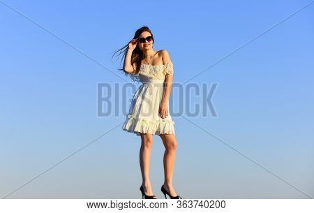 Beautiful Female. Pretty Young Beautiful Woman In Sunglasses. Summer Outfit. Portrait Of The Beautif