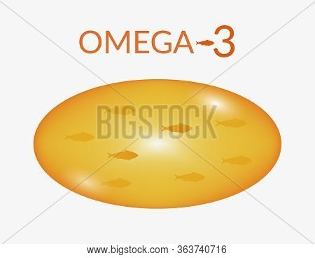 Concept Vitamins, Omega 3, Fish Oil, Body Health. Vector Illustration Of A Transparent Fish Oil Caps