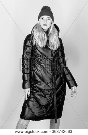 Hip And Stylish. Woman In Padded Warm Coat. Happy Winter Holidays. New Year. Flu And Cold. Seasonal