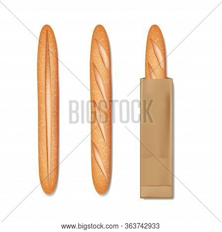 French Baguette Bread In A Paper Bag. Set Of Tasty Baked Goods For Breakfast. Realistic Baguette Bre