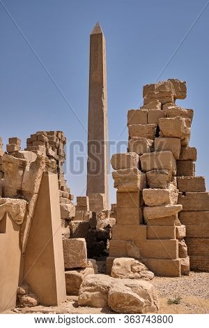 Remains Of Karnak Temple Complex And Karnak Open Air Museum (built About 1250 Bc) In Luxor, Egypt