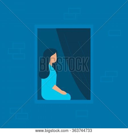 Girl Sits At Home And Looks Out Of Window In Evening Or At Night. Lonely Young Woman Isolated On Qua