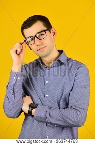 Prescription Glasses. Eyewear. Choose Eyeglasses In Casual Style. Smart Boy. Bad Eyesight. Cool Guy