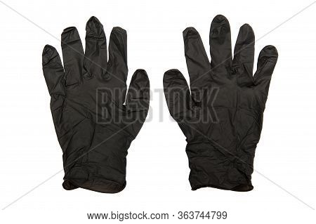 Pair Of Examination And Protective Black Nitryle Disposable Gloves Used In The Covid-19 Global Pande
