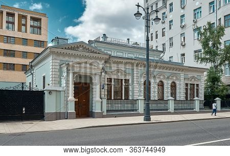 Moscow, Russia - June 23, 2016: A One-storey 19th-century Residential Building, The Building Current