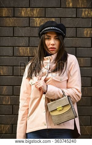 Girl Jacket Urban Style. Female Psychology. Fashion Outfit. Little Purse. Matching Style And Class W