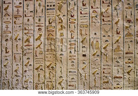 Ancient Paintings And Egyptian Hieroglyphs At The Pharaoh Tomb In The Valley Of The Kings In Luxor,