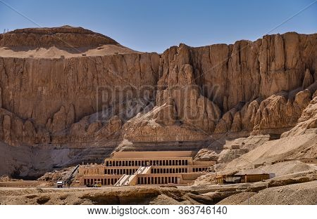 Ancient Ruins Of The Mortuary Temple Of Queen Hatshepsut In Luxor, Egypt