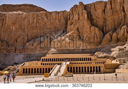 Luxor / Egypt - May 23, 2019: Ancient Ruins Of The Mortuary Temple Of Queen Hatshepsut In Luxor, Egy