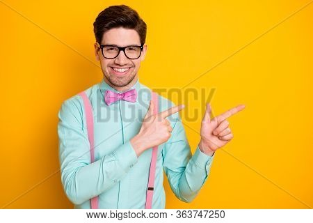 Photo Of Handsome Trend Outfit Business Guy Self-confident Hands Fingers Directing Side Empty Space