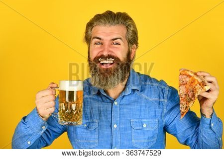 Beer And Food. Dinner At Pub. Hungry Man Going To Eat Pizza And Drink Beer. Finally Pizza Time. Pizz