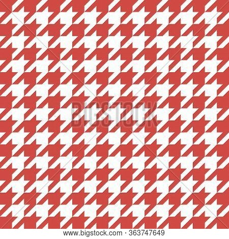 Goose Foot. Pattern Of Crows Feet In Red And White Cage. Glen Plaid. Houndstooth Tartan Tweed. Dogs