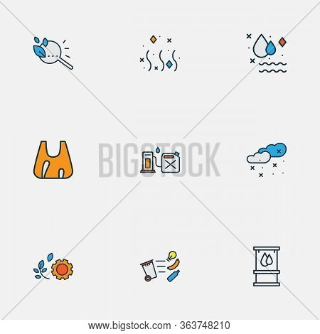 Eco Icons Colored Line Set With Gasoline Canister, Clean Water, Green Technology And Other Weather E