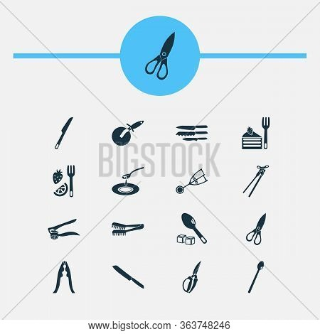 Utensil Icons Set With Kitchenware, Spaghetti Tongs, Sugar Spoon And Other Dishware Elements. Isolat