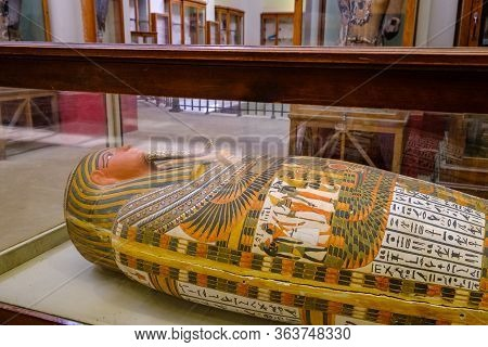 Ancient Egyptian Sarcophagi And Mummy Caskets Displayed In Egyptian Museum In Cairo, Capital Of Egyp