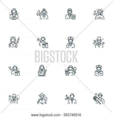 Person Icons Line Style Set With Paparazzi, Announcing, Gardener Woman And Other Protection Elements