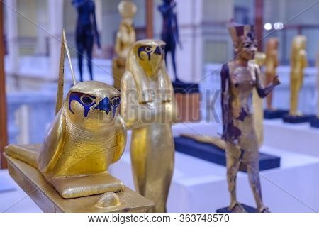 Cairo / Egypt - May 25th 2019: Gilded Statuette Of Gemehsu (falcon) Of King Tutankhamun, Museum Of E