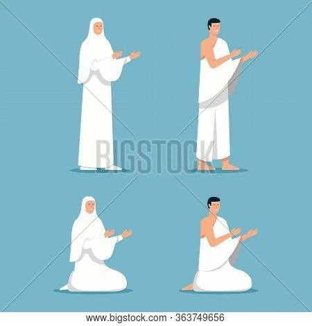 Pilgrim Praying While Stand And Sit. Suitable For Islamic Pilgrim Theme.