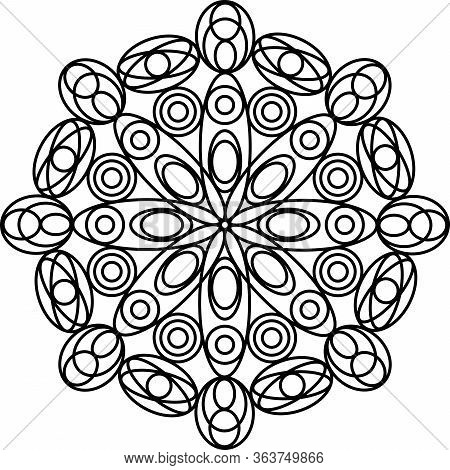 Simple Geometric Mandala Coloring Page For Kids And Adults. Vector Illustration. Relax Black And Whi