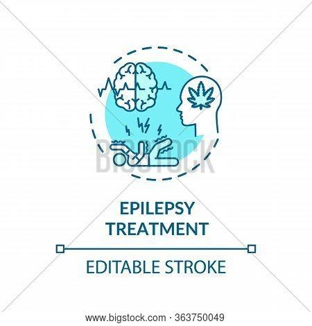 Epilepsy Treatment Concept Icon. Medical Cannabis Use, Hemp Medicine Idea Thin Line Illustration. Mm